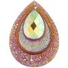 Resin Sew-on Peacock Stones 10pcs 30x40mm Drop Orange Aurora Borealis